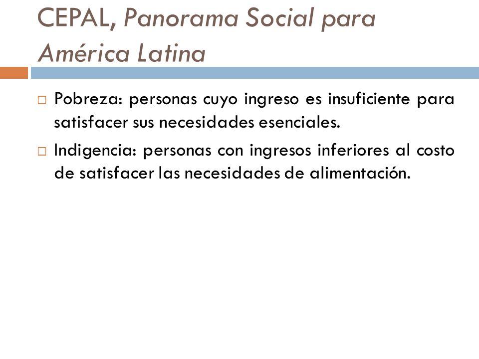 CEPAL, Panorama Social para América Latina Pobreza: personas cuyo ingreso es insuficiente para satisfacer sus necesidades esenciales. Indigencia: pers