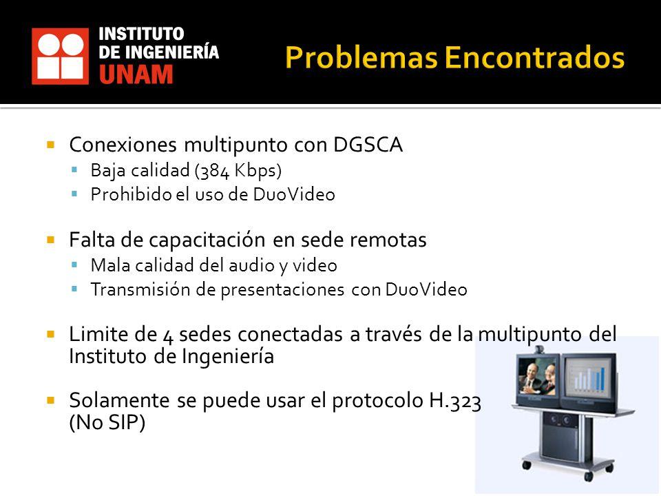 Conexiones multipunto con DGSCA Baja calidad (384 Kbps) Prohibido el uso de DuoVideo Falta de capacitación en sede remotas Mala calidad del audio y video Transmisión de presentaciones con DuoVideo Limite de 4 sedes conectadas a través de la multipunto del Instituto de Ingeniería Solamente se puede usar el protocolo H.323 (No SIP)