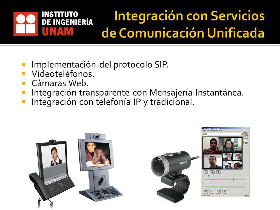 Implementación del protocolo SIP. Videoteléfonos. Cámaras Web. Integración transparente con Mensajería Instantánea. Integración con telefonía IP y tra