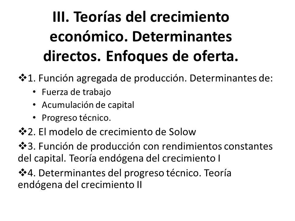 III. Teorías del crecimiento económico. Determinantes directos. Enfoques de oferta. 1. Función agregada de producción. Determinantes de: Fuerza de tra
