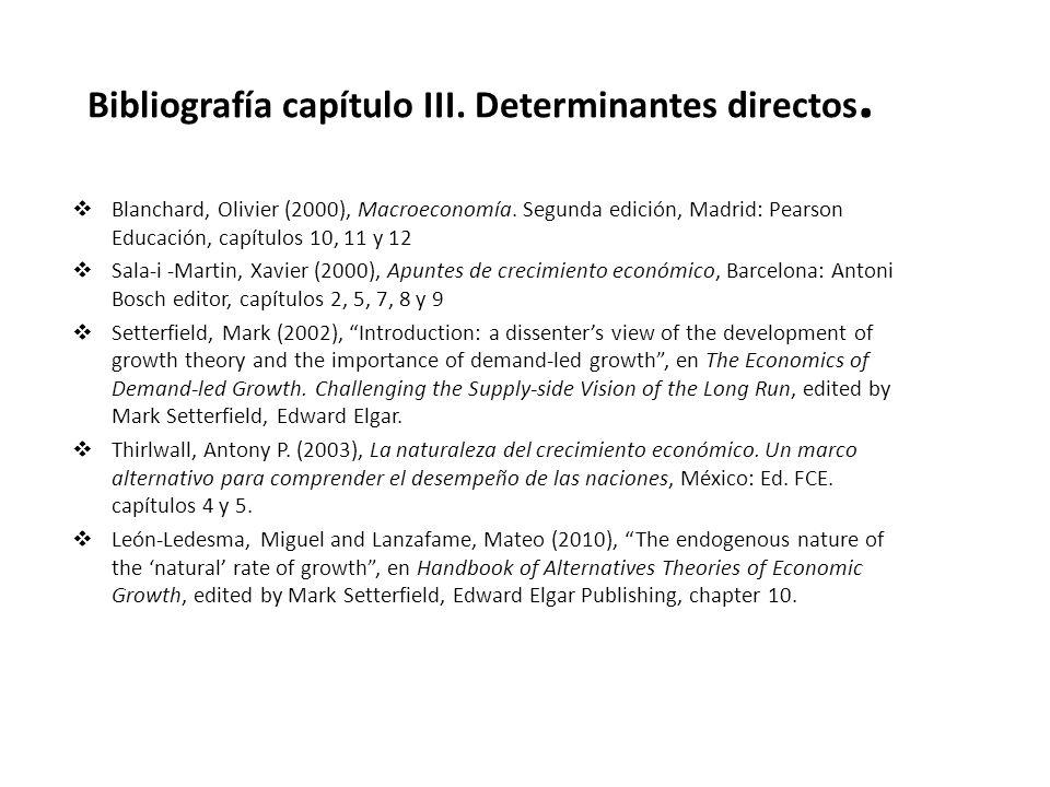 Bibliografía capítulo III. Determinantes directos. Blanchard, Olivier (2000), Macroeconomía. Segunda edición, Madrid: Pearson Educación, capítulos 10,