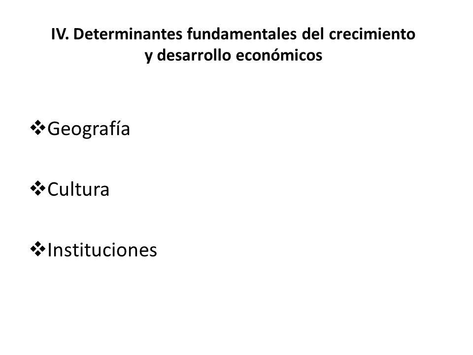 IV. Determinantes fundamentales del crecimiento y desarrollo económicos Geografía Cultura Instituciones