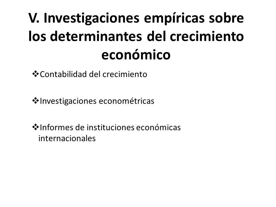 V. Investigaciones empíricas sobre los determinantes del crecimiento económico Contabilidad del crecimiento Investigaciones econométricas Informes de