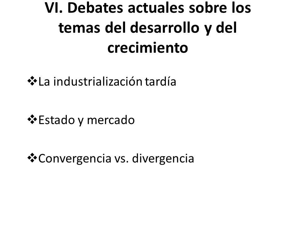 VI. Debates actuales sobre los temas del desarrollo y del crecimiento La industrialización tardía Estado y mercado Convergencia vs. divergencia