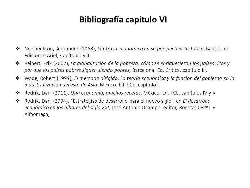 Bibliografía capítulo VI Gershenkron, Alexander (1968), El atraso económico en su perspectiva histórica, Barcelona: Ediciones Ariel, Capítulo I y II.