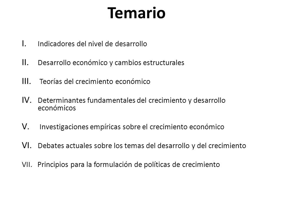 Temario I. Indicadores del nivel de desarrollo II. Desarrollo económico y cambios estructurales III. Teorías del crecimiento económico IV. Determinant