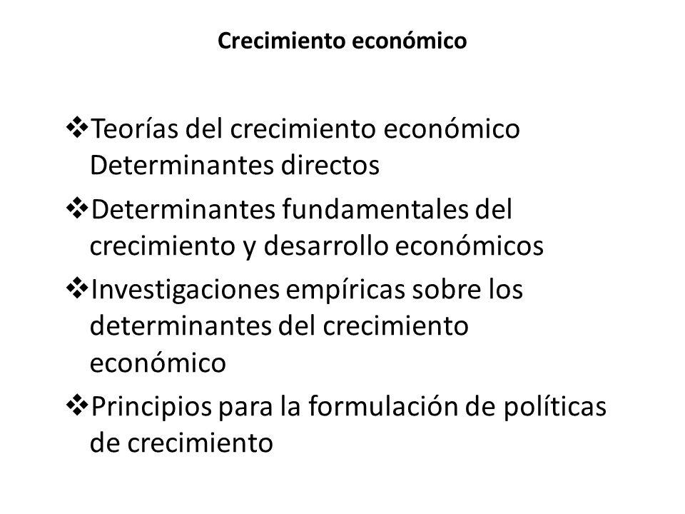 Crecimiento económico Teorías del crecimiento económico Determinantes directos Determinantes fundamentales del crecimiento y desarrollo económicos Investigaciones empíricas sobre los determinantes del crecimiento económico Principios para la formulación de políticas de crecimiento