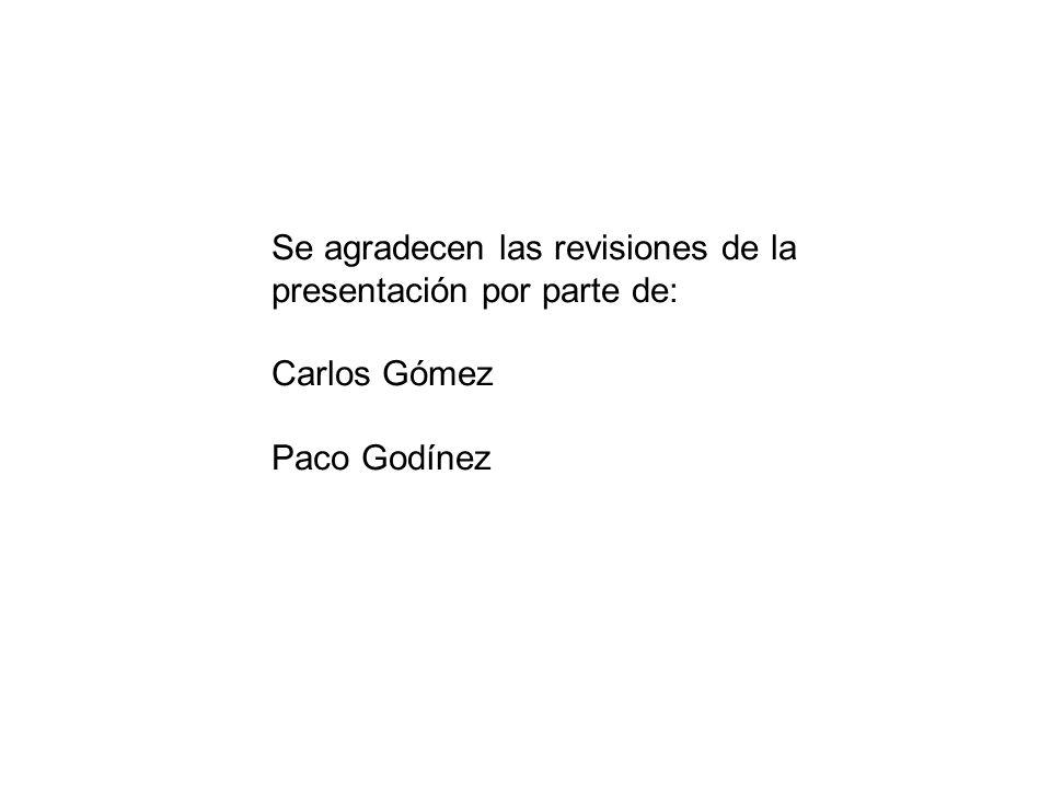 Se agradecen las revisiones de la presentación por parte de: Carlos Gómez Paco Godínez