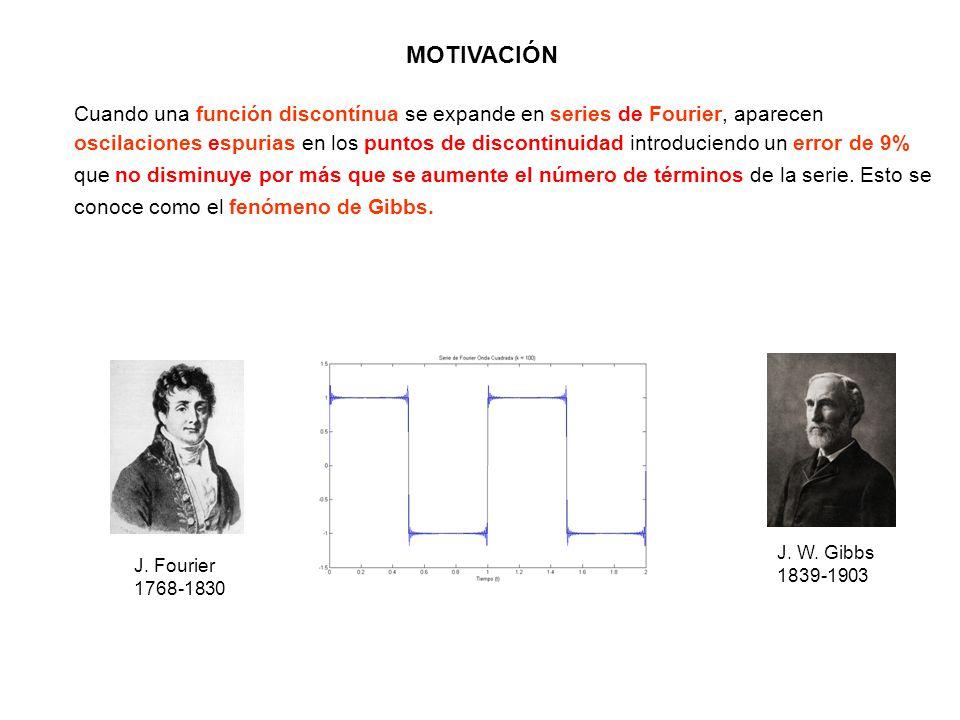 Cuando una función discontínua se expande en series de Fourier, aparecen oscilaciones espurias en los puntos de discontinuidad introduciendo un error