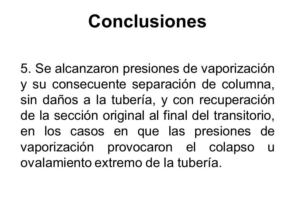 Conclusiones 5. Se alcanzaron presiones de vaporización y su consecuente separación de columna, sin daños a la tubería, y con recuperación de la secci