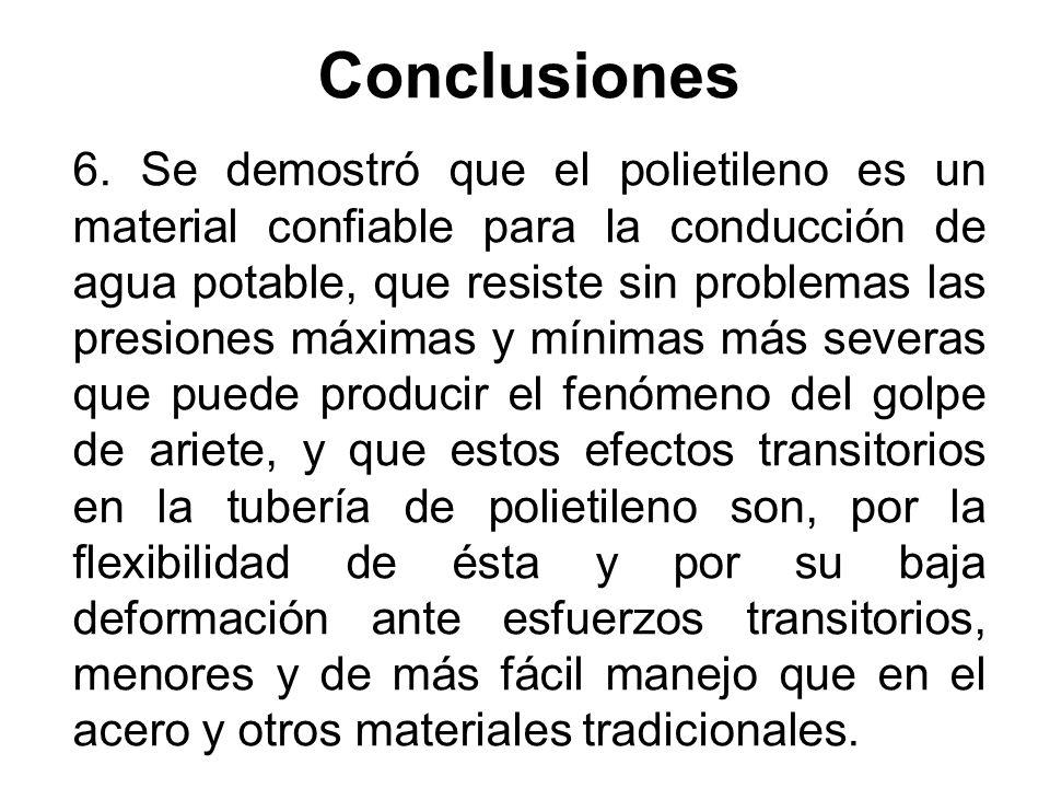 Conclusiones 6. Se demostró que el polietileno es un material confiable para la conducción de agua potable, que resiste sin problemas las presiones má