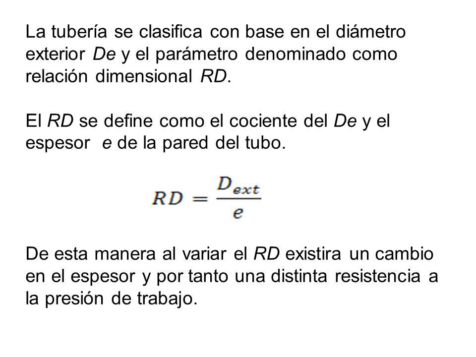 La tubería se clasifica con base en el diámetro exterior De y el parámetro denominado como relación dimensional RD. El RD se define como el cociente d