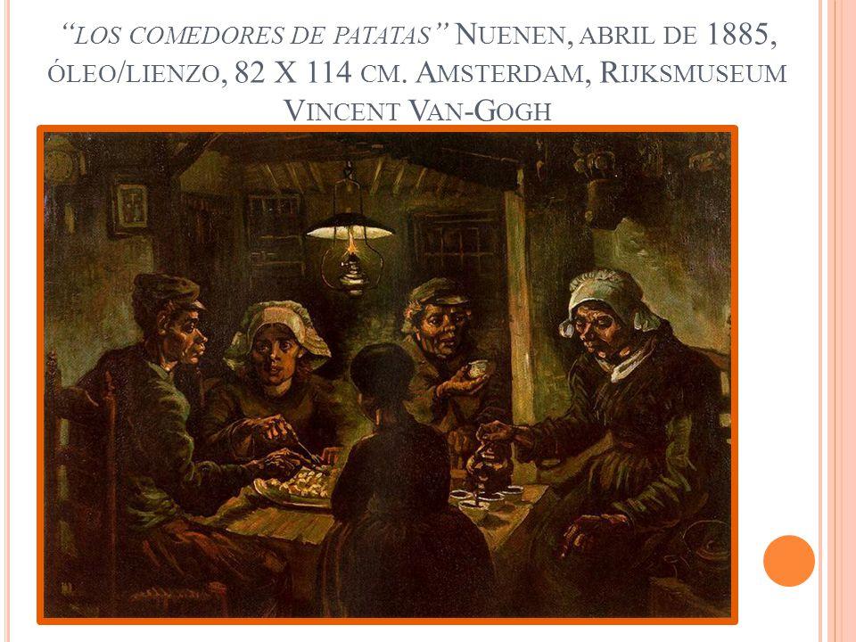 LOS COMEDORES DE PATATAS N UENEN, ABRIL DE 1885, ÓLEO / LIENZO, 82 X 114 CM. A MSTERDAM, R IJKSMUSEUM V INCENT V AN -G OGH