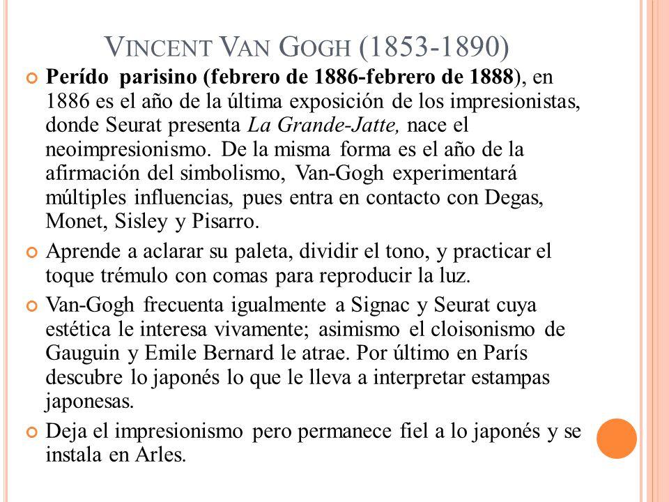 V INCENT V AN G OGH (1853-1890) Perído parisino (febrero de 1886-febrero de 1888), en 1886 es el año de la última exposición de los impresionistas, do