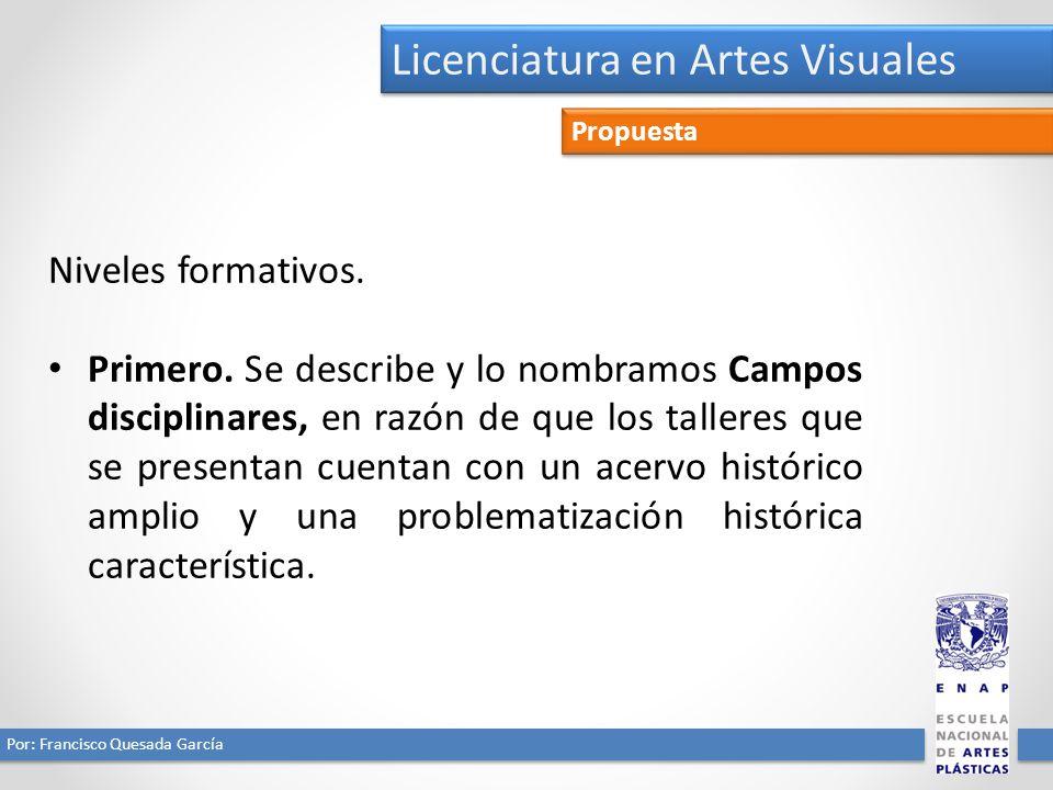 Licenciatura en Artes Visuales Por: Francisco Quesada García Propuesta Niveles formativos. Primero. Se describe y lo nombramos Campos disciplinares, e