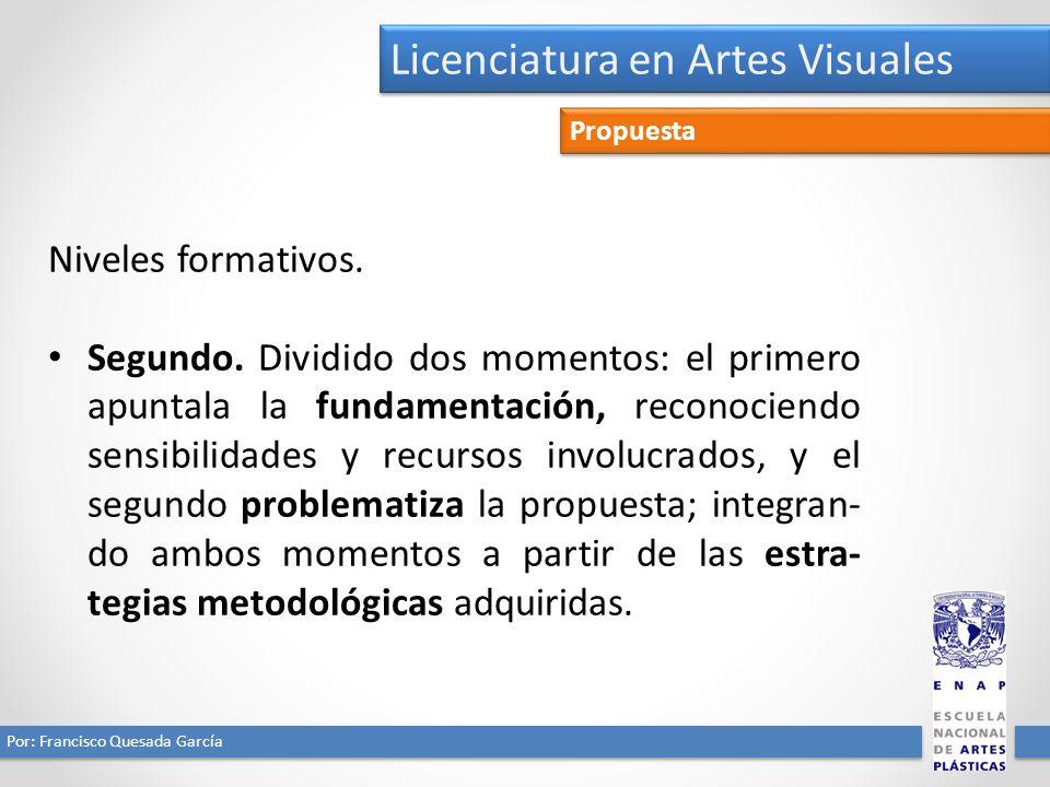 Licenciatura en Artes Visuales Por: Francisco Quesada García Propuesta Niveles formativos. Segundo. Dividido dos momentos: el primero apuntala la fund