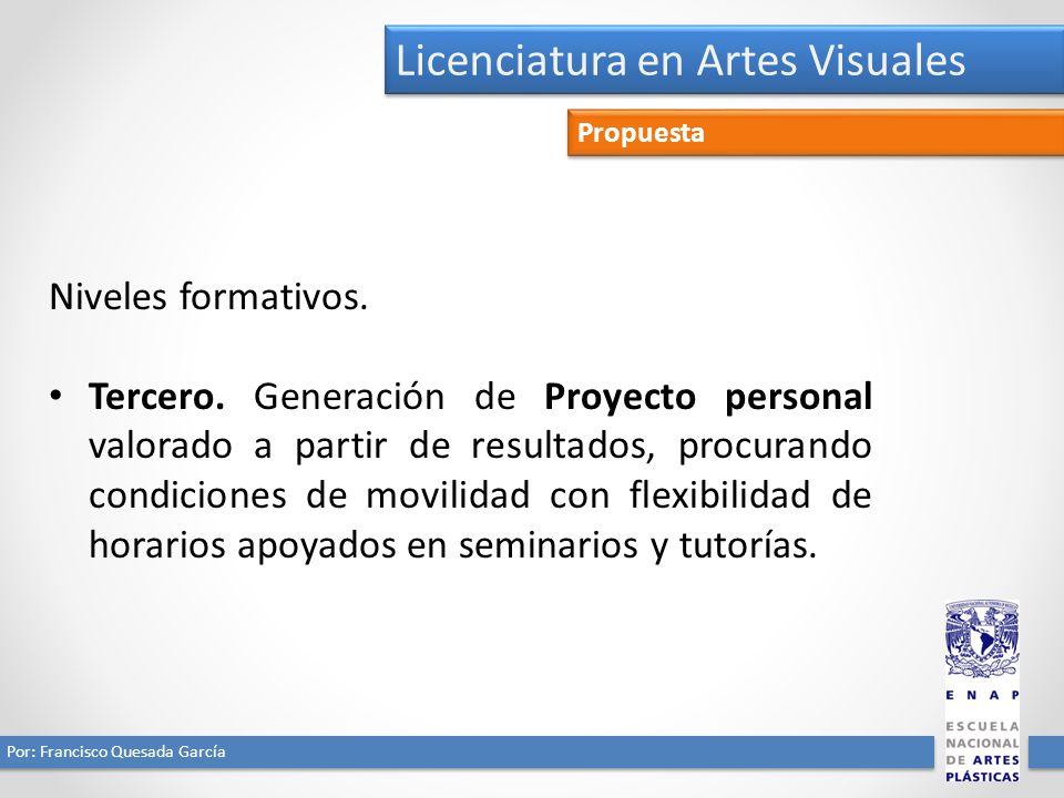 Licenciatura en Artes Visuales Por: Francisco Quesada García Propuesta Niveles formativos. Tercero. Generación de Proyecto personal valorado a partir
