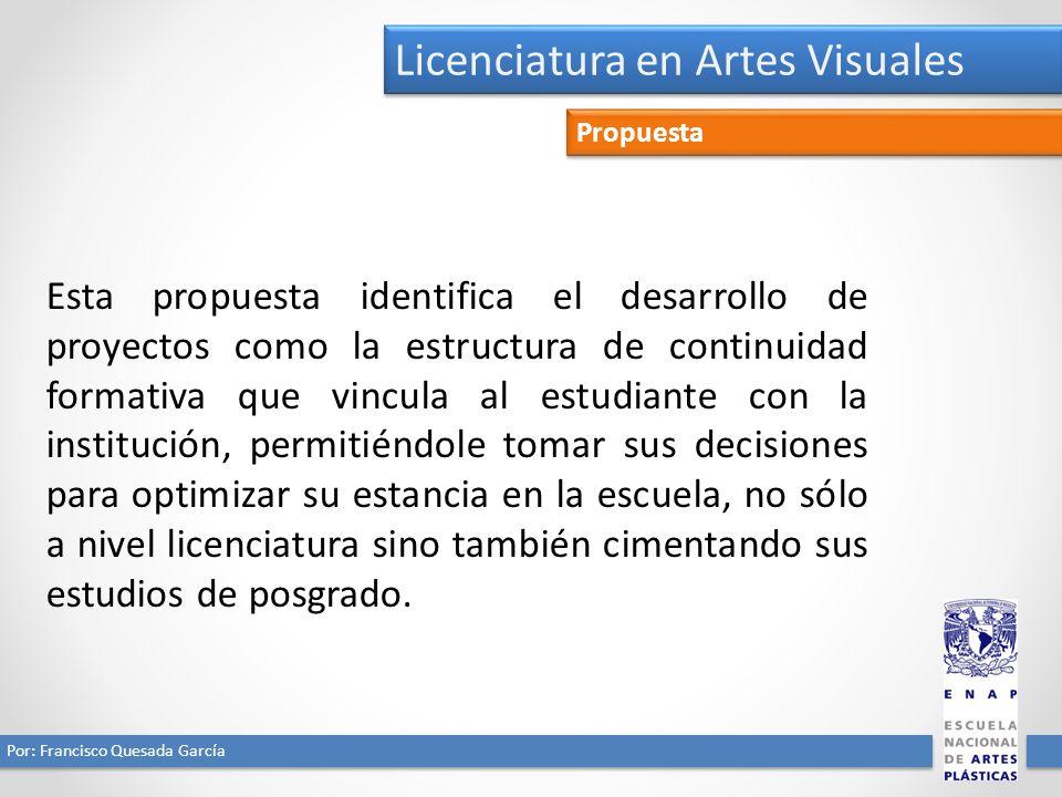 Licenciatura en Artes Visuales Por: Francisco Quesada García Propuesta Esta propuesta identifica el desarrollo de proyectos como la estructura de cont