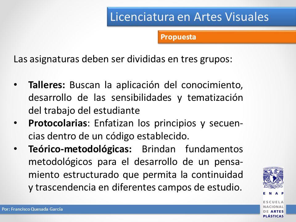 Licenciatura en Artes Visuales Por: Francisco Quesada García Propuesta Las asignaturas deben ser divididas en tres grupos: Talleres: Buscan la aplicac