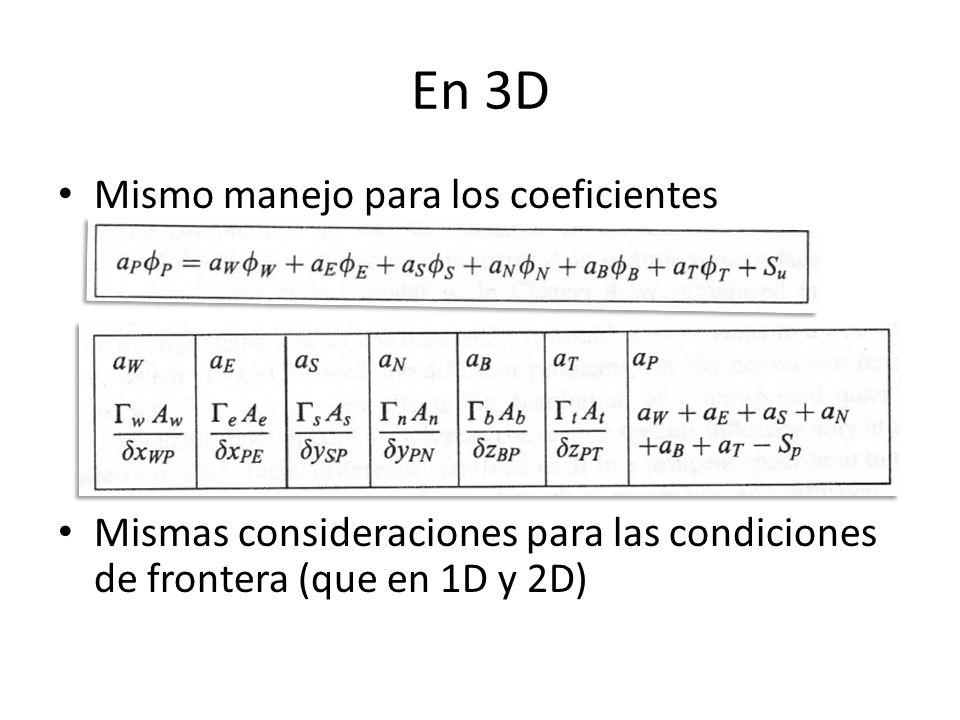 En 3D Mismo manejo para los coeficientes Mismas consideraciones para las condiciones de frontera (que en 1D y 2D)