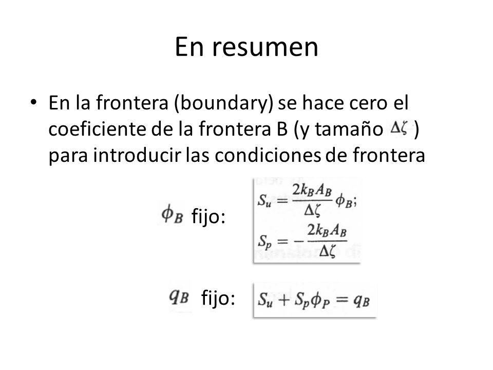En resumen En la frontera (boundary) se hace cero el coeficiente de la frontera B (y tamaño ) para introducir las condiciones de frontera fijo: