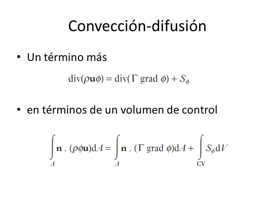 Convección-difusión Un término más en términos de un volumen de control