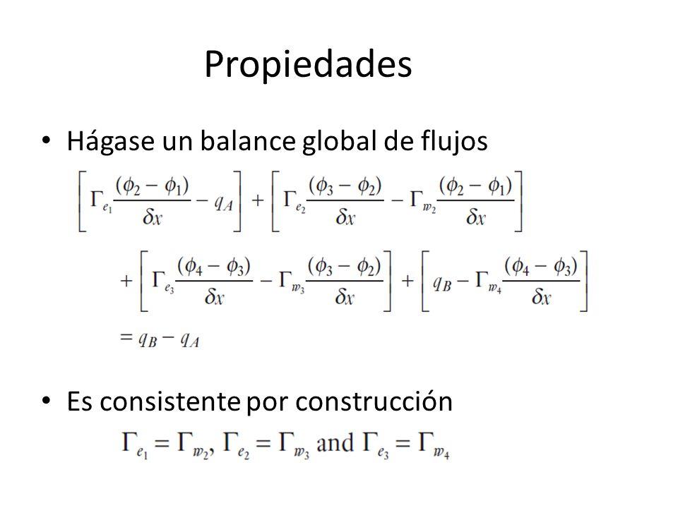 Propiedades Hágase un balance global de flujos Es consistente por construcción