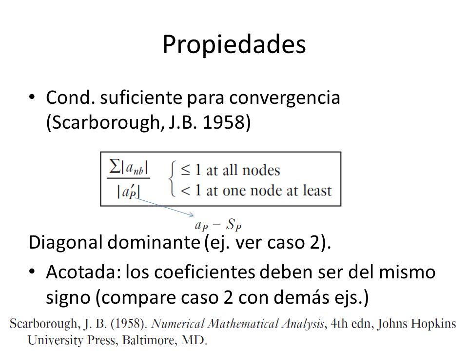 Propiedades Cond. suficiente para convergencia (Scarborough, J.B. 1958) Diagonal dominante (ej. ver caso 2). Acotada: los coeficientes deben ser del m