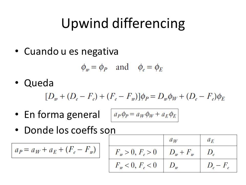 Upwind differencing Cuando u es negativa Queda En forma general Donde los coeffs son
