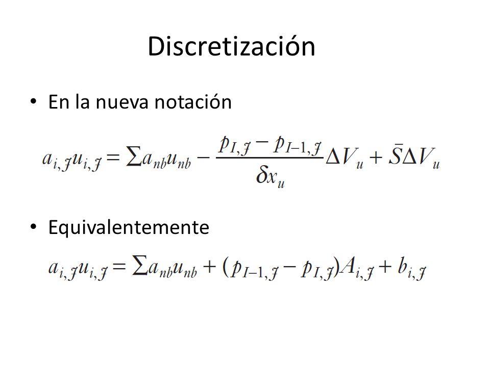 Discretización En la nueva notación Equivalentemente