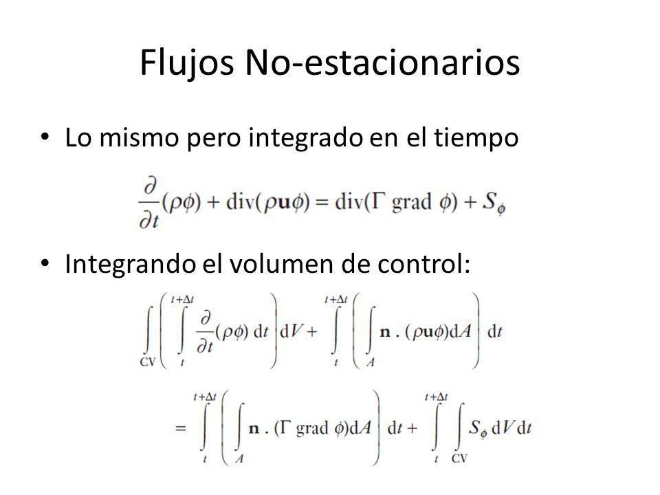 Flujos No-estacionarios Lo mismo pero integrado en el tiempo Integrando el volumen de control: