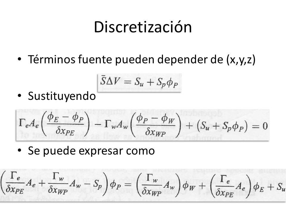 Discretización Términos fuente pueden depender de (x,y,z) Sustituyendo Se puede expresar como