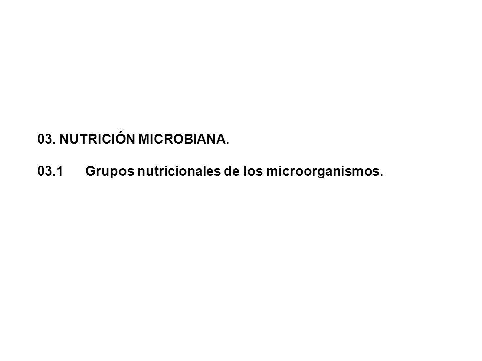 03. NUTRICIÓN MICROBIANA. 03.1Grupos nutricionales de los microorganismos.