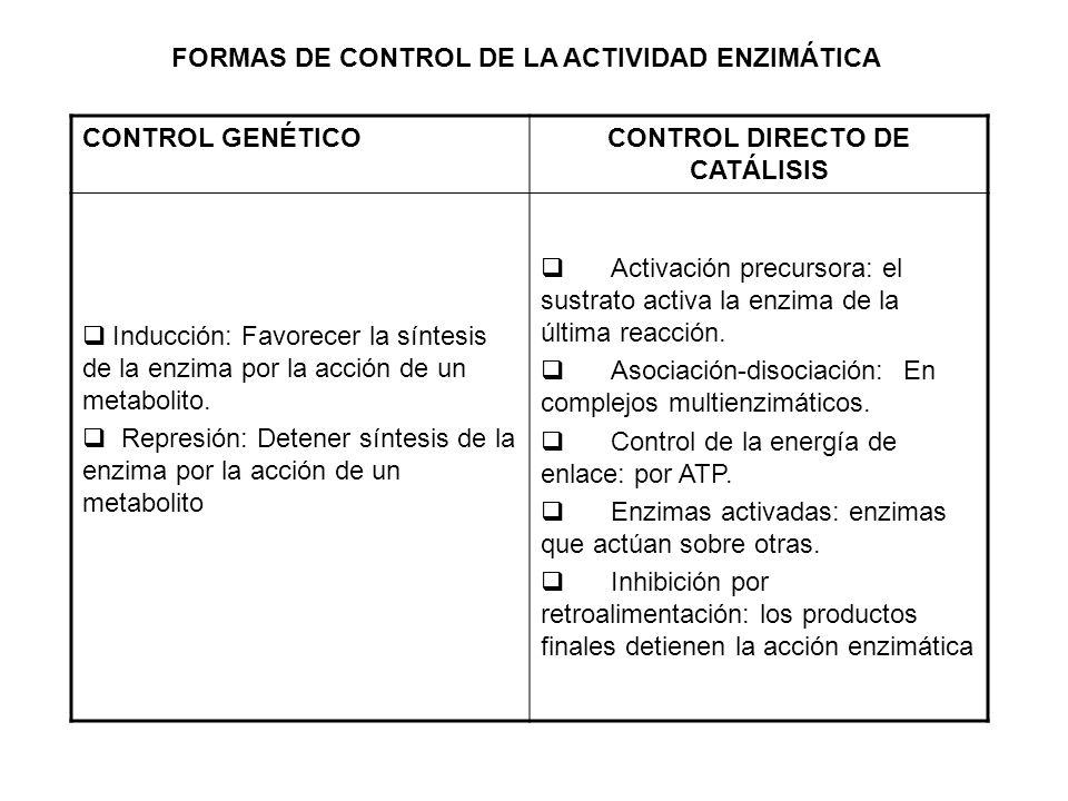 FORMAS DE CONTROL DE LA ACTIVIDAD ENZIMÁTICA CONTROL GENÉTICOCONTROL DIRECTO DE CATÁLISIS Inducción: Favorecer la síntesis de la enzima por la acción