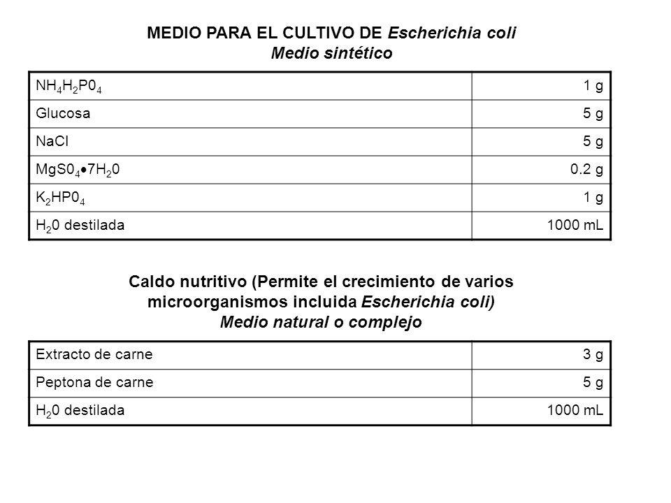 MEDIO PARA EL CULTIVO DE Escherichia coli Medio sintético NH 4 H 2 P0 4 1 g Glucosa5 g NaCI5 g MgS0 4 7H 2 0 0.2 g K 2 HP0 4 1 g H 2 0 destilada1000 m