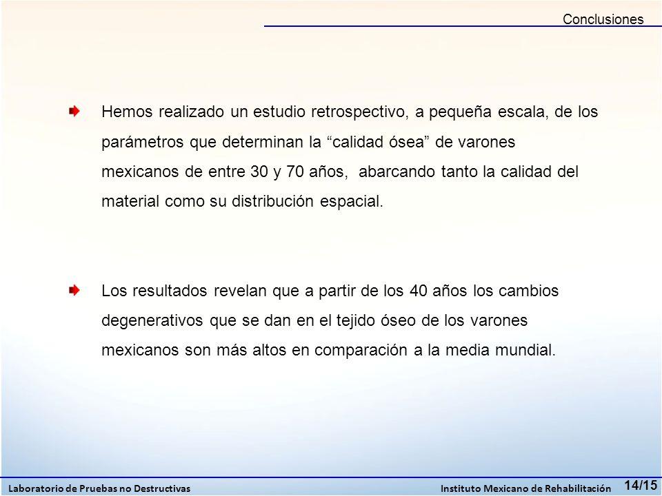 Conclusiones 14/15 Laboratorio de Pruebas no Destructivas Instituto Mexicano de Rehabilitación Hemos realizado un estudio retrospectivo, a pequeña esc