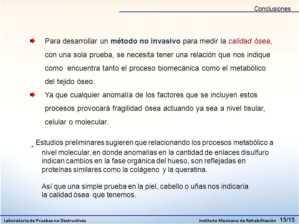Conclusiones Laboratorio de Pruebas no Destructivas Instituto Mexicano de Rehabilitación 15/15 Para desarrollar un método no invasivo para medir la ca