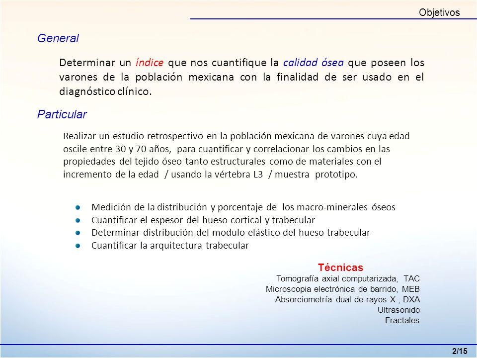 Objetivos General Determinar un índice que nos cuantifique la calidad ósea que poseen los varones de la población mexicana con la finalidad de ser usa
