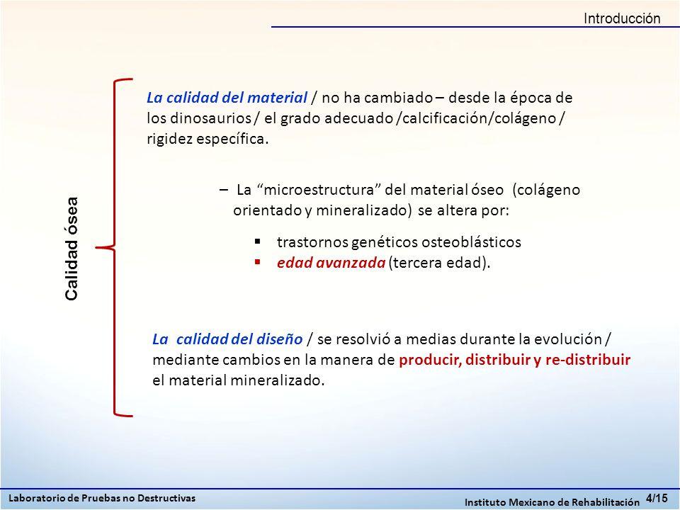 Conclusiones Laboratorio de Pruebas no Destructivas Instituto Mexicano de Rehabilitación 15/15 Para desarrollar un método no invasivo para medir la calidad ósea, con una sola prueba, se necesita tener una relación que nos indique como encuentra tanto el proceso biomecánica como el metabólico del tejido óseo.