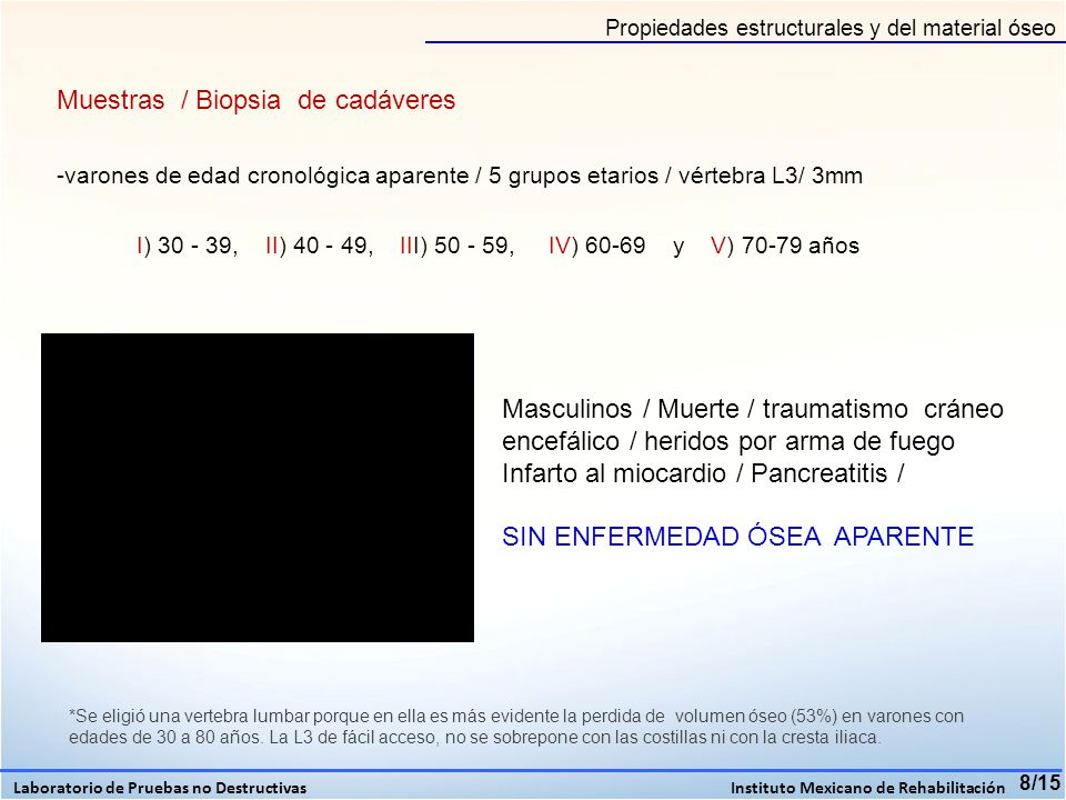 9/15 EDAD ( años) DMO (mg/cm 3 ) CAMBIOS MORFOLOGICOS POR TAC 30-39 1) 1.4 DS 2) Normal 3) 2.4 DS 1) Sin cambios morfológicos 2) Microfracturas 3) Microfracturas 40 -49 1) 2.1 DS 2) 2.5 DS 3) 2.4 DS 1) Osteofitos, microfracturas 2) Osteofitos, microfracturas 3) Esclerosis, microfracturas 50-59 1) 4.3 DS 2) 3.1 DS 3) 4.0 DS 1) Osteofitos, microfracturas 2) Osteofitos, microfracturas 3) Esclerosis, microfracturas 60-69 1) 0.3 DS 2) 4.0 DS 3) 4.0 DS 1) Osteofitos, disminución de tamaño 2) Esclerosis, microfracturas 3) Microfracturas 70-79 1) 2.4 DS 2) 2.4 DS 3) 2.0 DS 1) Disminución de la altura, esclerosis 2) Osteofitos, esclerosis 3) Microfracturas, esclerosis Resultados DMO en vertebras de cadáver con TAC Laboratorio de Pruebas no Destructivas