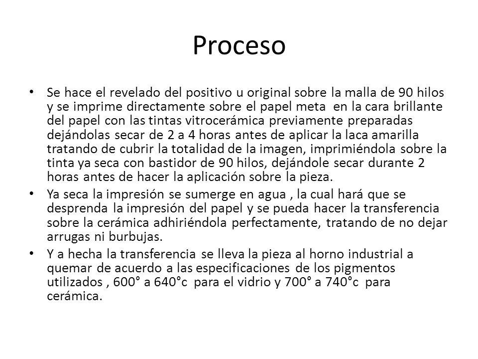 Proceso Se hace el revelado del positivo u original sobre la malla de 90 hilos y se imprime directamente sobre el papel meta en la cara brillante del