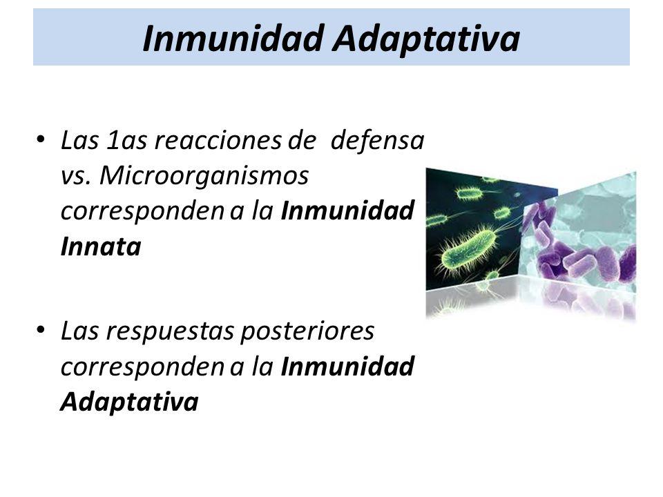Las 1as reacciones de defensa vs. Microorganismos corresponden a la Inmunidad Innata Las respuestas posteriores corresponden a la Inmunidad Adaptativa