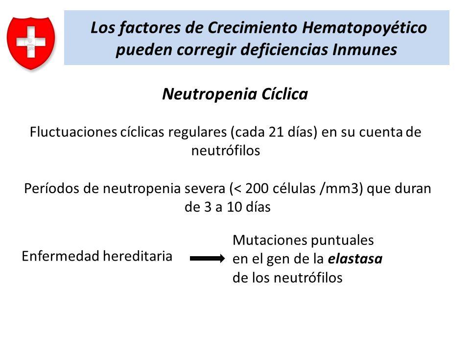 Los factores de Crecimiento Hematopoyético pueden corregir deficiencias Inmunes Neutropenia Cíclica Fluctuaciones cíclicas regulares (cada 21 días) en