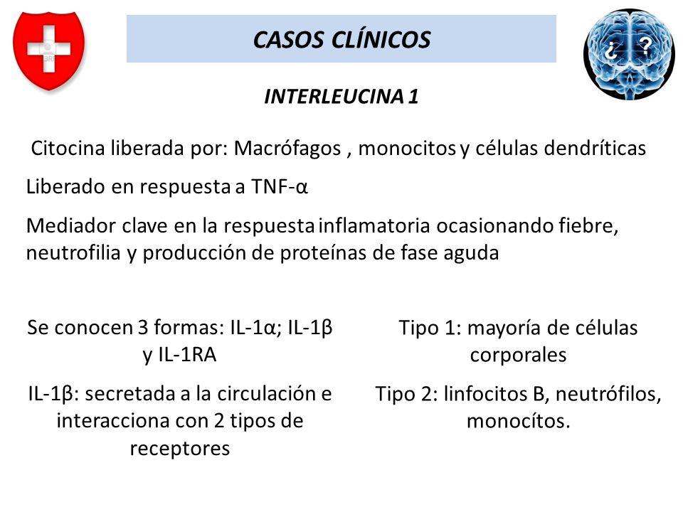 CASOS CLÍNICOS INTERLEUCINA 1 Citocina liberada por: Macrófagos, monocitos y células dendríticas Liberado en respuesta a TNF-α Mediador clave en la re