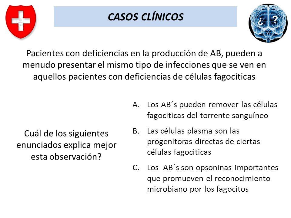 CASOS CLÍNICOS Pacientes con deficiencias en la producción de AB, pueden a menudo presentar el mismo tipo de infecciones que se ven en aquellos pacien