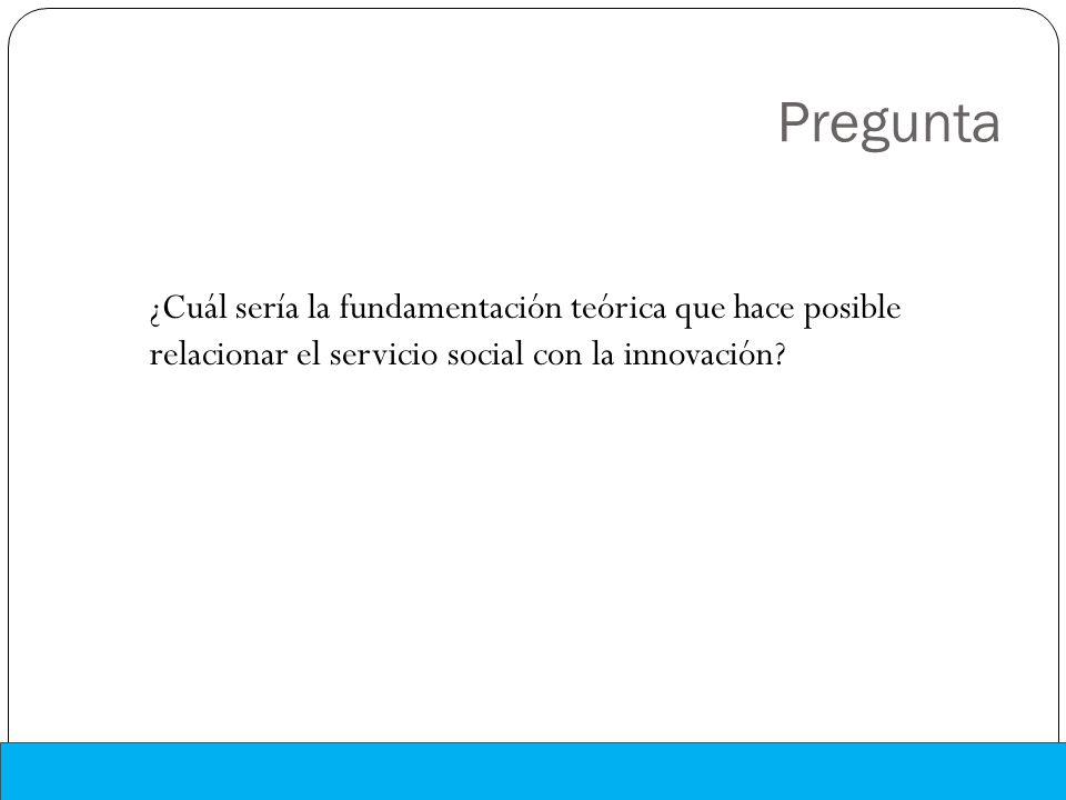 Pregunta ¿Cuál sería la fundamentación teórica que hace posible relacionar el servicio social con la innovación?
