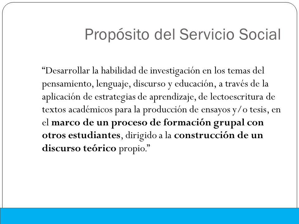 Propósito del Servicio Social Desarrollar la habilidad de investigación en los temas del pensamiento, lenguaje, discurso y educación, a través de la a