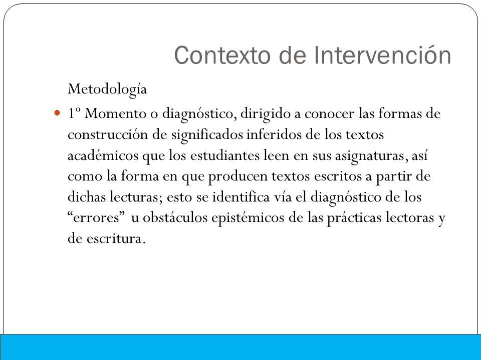 Contexto de Intervención Metodología 1º Momento o diagnóstico, dirigido a conocer las formas de construcción de significados inferidos de los textos a