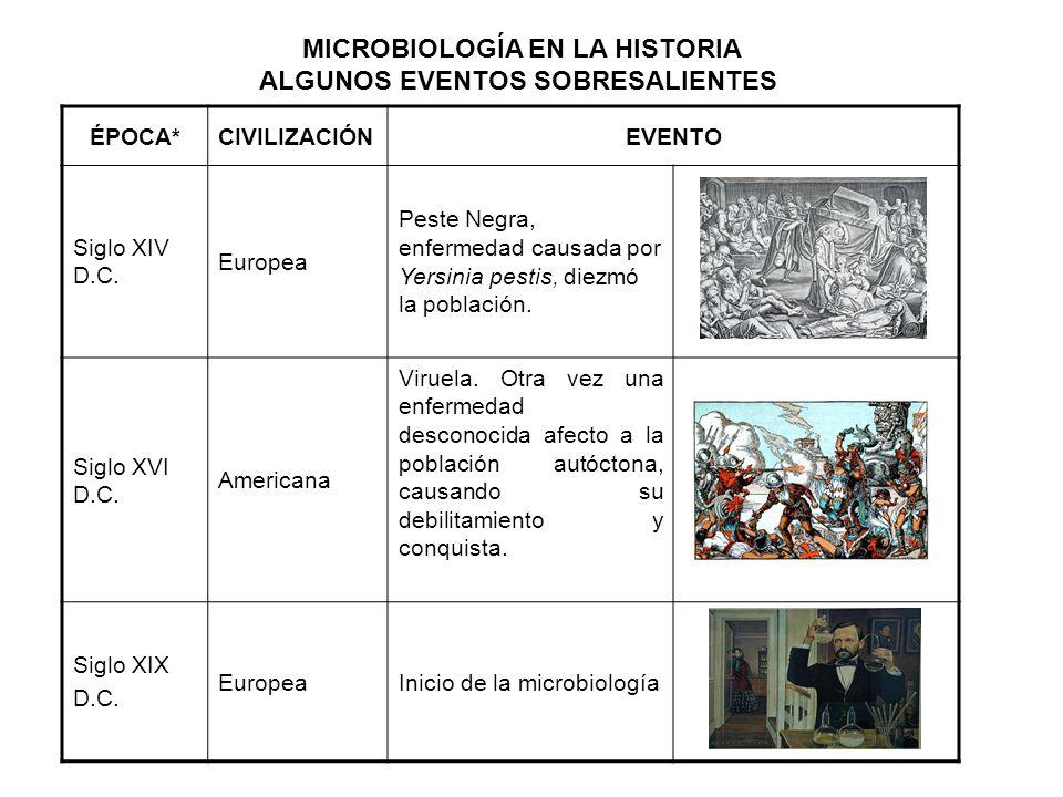 ÉPOCA*CIVILIZACIÓNEVENTO Siglo XIV D.C. Europea Peste Negra, enfermedad causada por Yersinia pestis, diezmó la población. Siglo XVI D.C. Americana Vir