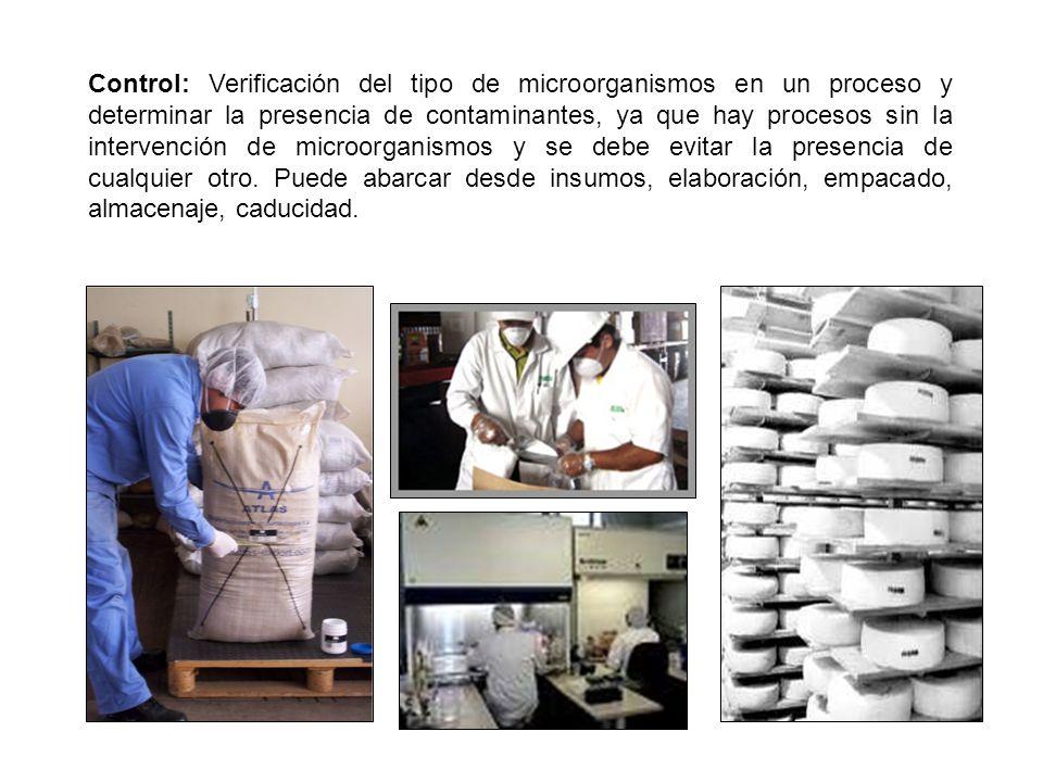Control: Verificación del tipo de microorganismos en un proceso y determinar la presencia de contaminantes, ya que hay procesos sin la intervención de